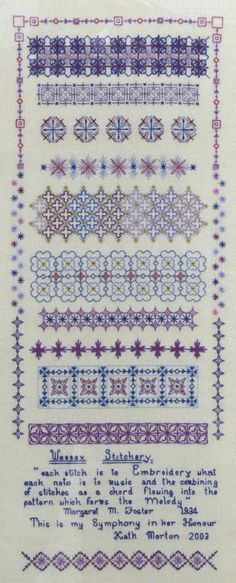 Wessex Stitchery sampler by Kath Morton