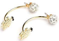 Womens Crystal Ball Stud Turtle Cuff Dangle Earrings Goldtone & Silvertone