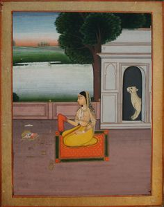 www.IndianMiniaturePaintings.co.uk - Indian miniature painting: Folio from a ragamala series: Bangal Ragini. Jaipur, circa 1820. Opaque watercolour with gold on wasli. 16 x 12.6cm