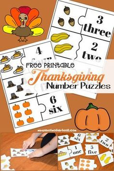 Share this: Free Printable Thanksgiving Number Puzzles 1 – 12 We are currently learning number recognition and being able to place the word or number with a visual representation of the number. I made her these puzzles with the new clipart set I have been working on for this month. It occurs to me that I forgot …