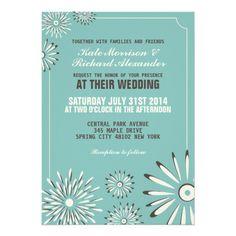 Turqouise and Cream Floral Wedding Invitation