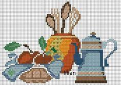 Kitchen chart Cross Stitch Fruit, Cross Stitch Kitchen, Cross Stitch Rose, Stitch 2, Cross Stitch Charts, Cross Stitch Patterns, Cross Designs, Cross Stitch Designs, Cross Stitching