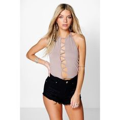 Boohoo Layla Lattice Strap Halter Crop ($10) ❤ liked on Polyvore featuring tops, mocha, off shoulder crop top, halter top, crop top, off the shoulder tops and sequin top