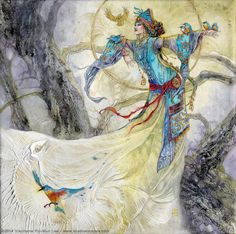"Stephanie Law artist;""Yexian-Of Kingfishers and Bones""-watercolor,inks metalics on canvas"