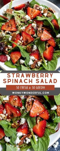 This Strawberry Spinach Salad with Homemade Balsamic Vinaigrette Dressing comes together in no time for a fresh and flavorful side salad or light dinner.