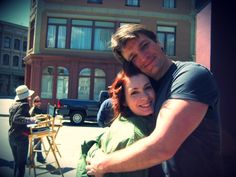 Felicia Day and Nathan Fillion bts of Dr. Horrible