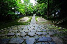 法然院 苔と青もみじ 京都の風情ある緑と白砂壇
