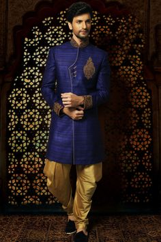 Samayakk Royal Blue & Golden Sherwani #Samayakk, #RoyalBlue, #Golden…