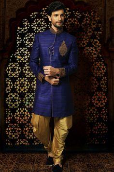 Samayakk Royal Blue & Golden Sherwani #Samayakk, #RoyalBlue, #Golden…