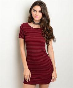 Mia Stripped Dress - Burgundy