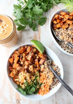Roasted sweet potatoes and quinoa are topped with delicious Thai peanut sauce in this healthy, gluten free & vegan buddha bowl recipe! Food from recipes Best Vegan Recipes, Gluten Free Recipes, Whole Food Recipes, Vegetarian Recipes, Healthy Recipes, Thai Recipes, Soup Recipes, Recipies, Easy Vegan Dinner