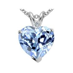 1.77 cttw 8mm Heart Shaped Simulated Aquamarine and Genuine Diamond Pendant in 14 kt White Gold