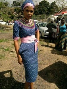 Seshweshwe African Print Dresses, African Print Fashion, African Fashion Dresses, African Dress, African Clothes, African Prints, African Traditional Dresses, Traditional Fashion, Traditional Outfits