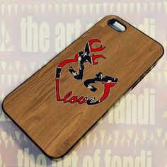 Deer Heart Love Flag Wood For iPhone 5/5c/5s Black Rubber Case