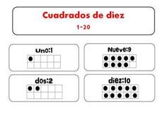 Here's a set of ten frames with Spanish labels.
