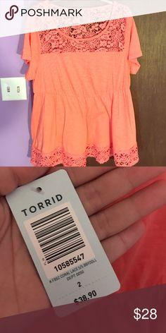 Coral T-Shirt w/ Crochet Detailing Coral colored t-shirt with crochet detailing along the top and hem. Has a cinched waist. torrid Tops Tees - Short Sleeve