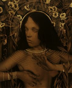 Alessandra Maria. All her works are made with coffee stained paper, graphite/carbon pencil, gold leaf, and black ink.
