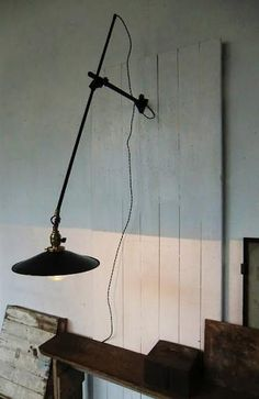* Vintage - early century fully adjustable factory fixture lamp I like the paint and I like the light on the wood planks like this. Home Lighting, Modern Lighting, Lighting Design, Lighting Stores, Bedside Lighting, Industrial Living, Industrial Style, Lamp Light, Light Up