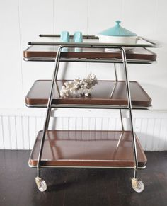 MidCentury Rolling Kitchen Cart by thewhitepepper on Etsy, $210.00
