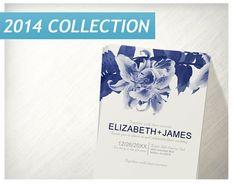 Navy Blue Flower Wedding Invitations