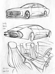 Car drawing 151210 2015 Benz IAA.  Prisma on paper.  Kim.J.H