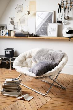 Dorm Tip: Create your own study nook with a comfy chair that's easy to lounge in for long periods of time, like our Ivory Sherpa Hang-A-Round Chair. The padded sides are covered in our superior-quality faux fur for a sumptuously plush feel, which beautifully emulates the inherent softness of genuine fur.