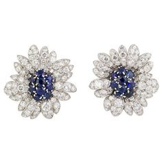 Van Cleef and Arpells Platinum Sapphire and Diamond Earrings