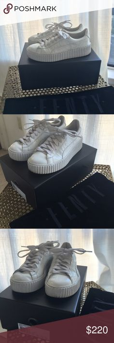 """Puma x Fenty by Rihanna Basket Creepers White Glo Rihanna´s anticipated """"Fenty"""" project for Puma. Size 7.5, Worn twice, original box and sleeper bag.   Please note: US womens sizes.   Colorway: White White White  This product has sold out Shoes Sneakers"""