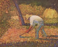 """Peasant with Hoe """"Paysan à la houe"""" by Georges Seurat - Oil on canvas (Solomon R. Guggenheim Museum, New York, NY) - Post-Impressionism/Pointilism -Viewed as part of """"Thannhauser Collection"""" at the Guggenheim Museum, NYC, NY Georges Seurat, Renoir, Vincent Van Gogh, Monet, Seurat Paintings, Oil Paintings, Paul Signac, Museum, Statues"""