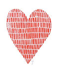 LINOLDRUCK Rot Valentinstag Herz 8 x 10 Buchdruck von thebigharumph