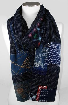 Kasuri sashiko scarf от WhiteKay на Etsy