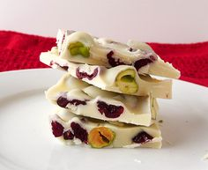 Pistachio and Cranberry White Chocolate Bark