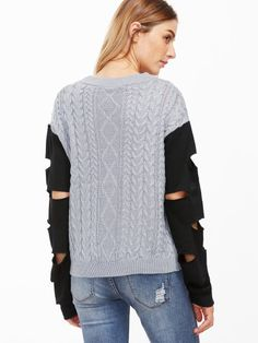 Shop Grey Cable Knit Contrast Sleeve Sweater online. SheIn offers Grey Cable Knit Contrast Sleeve Sweater & more to fit your fashionable needs.