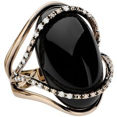18K White Gold Black Crystal Diamond Ring ($3,150) ❤ liked on Polyvore