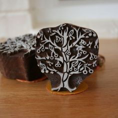 Hand Carved Wooden Stamp - Cherry Tree