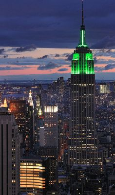 Empire State Building Lit Green For St. Patrick's Day!