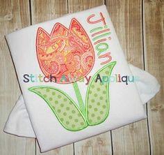 Tulip Applique - 4 Sizes!   Spring   Machine Embroidery Designs   SWAKembroidery.com Stitch Away Applique