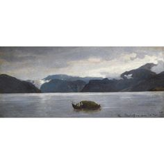 Artwork by Hans Gude, FRA BALESTRAND (VIEW FROM BALESTRAND), Made of oil on paper laid on card