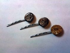 Set of Three Button Bobby Pins Hair Pins Hairslides by toppytoppy, $6.75