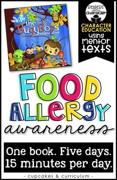 Food allergy awareness for the classroom; making students more aware of peanut allergies, nut allergies, tree allergies or other types of allergies; The BugyBops: Friends For All Time Kindness Activities, Book Activities, Physical Activities, Social Emotional Learning, Social Skills, Coping Skills, Elementary Counseling, Career Counseling, Elementary Schools