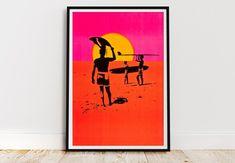 Vintage Moon, Vintage Surf, Vintage Prints, Vintage Travel Posters, Poster Vintage, Framed Art Prints, Poster Prints, Beach Wall Art, Art Deco Era