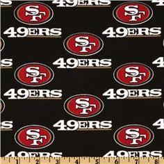 NFL Cotton Broadcloth San Francisco 49ers Black/Red. $7.98/yard