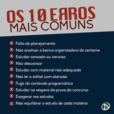Os 10 erros mais comuns cometidos pelos Concurseiros...