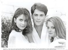 """The Hotel New Hampshire"" cast members Nastassja Kinski, Rob Lowe and Jodie Foster.   Rob's hair needs its own credits."