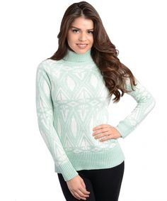 Women's #Fashion Clothing: Blouses, Shirts, Tops, and Sweaters: 2LUV Women's Ornamental Mint #Green and #White Turtle Neck #Sweater: Clothes