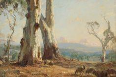 Morning Light by Sir Hans Heysen Australian Painting, Australian Artists, Landscape Art, Landscape Paintings, Tree Paintings, Contemporary Landscape, John Wilson, Life Paint, Vides
