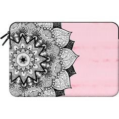 Macbook Sleeve - Chic Boho Girly Pink Tie Dye Hand Drawn Black and... ($60) ❤ liked on Polyvore featuring accessories, tech accessories and macbook sleeve