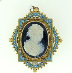 "Very rare Hardstone Cameo & Enamel Brooch circa 1860-70.     What is so unusual  about this set is is the use of the enamel colors, Robin's Egg blue and White together with the black and white Onyx .   The Pendant measure 1 3/4"" tall and 1 1/2"" wide."