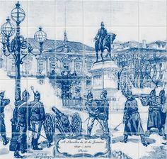 """PAINEL DE """"PSEUDO-AZULEJOS"""" ALEGÓRICO À REVOLTA DE 31 DE JANEIRO  - Imagem de base: Gravura de Louis Tynayre, publicada na Illustração, revista universal impressa em Paris, 1891. Digitalização e adaptação: Leonel Salvado (Extraído com a devida vénia de CLUBE DE HISTÓRIA DE VALPAÇOS -  clubehistoriaesvalp.blogspot.pt). 30 de Janeiro"""
