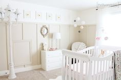 Bright and light neutral nursery with handed down items and tons of diy projects
